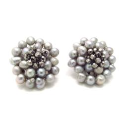 Silver Elegance Freshwater Pearl Chrysanthemum Clip On Earrings (Thailand)