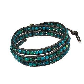 Green Clover Round Malachite Stones 3-Wrap Leather Bracelet (Thailand)