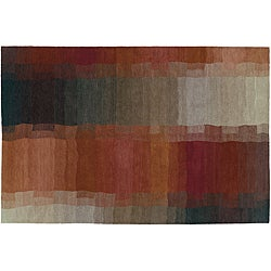 Red 5' x 7' Reflections Wool Rug (India)