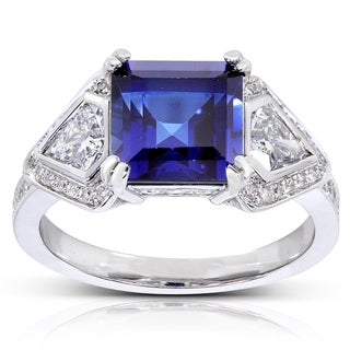 Annello 14k White Gold Chatham Created Blue Sapphire and 4/5 ct TDW Diamond Ring (H-I, VS1-VS2)