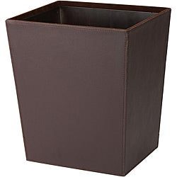 Chocolate Brown Leatherette Wastebasket with Tin Liner