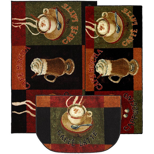 Cafe Latte Three-piece Kitchen Rug Set