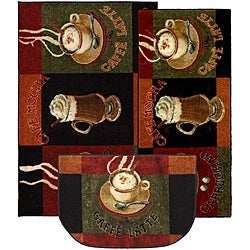 Cafe Latte Three-piece Kitchen Rug Set