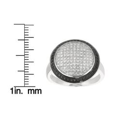 Sterling Silver Clear and Black Cubic Zirconia Round Fashion Ring