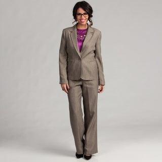 Danillo Women's Single Button Notch Collar Side Pleat Pant Suit