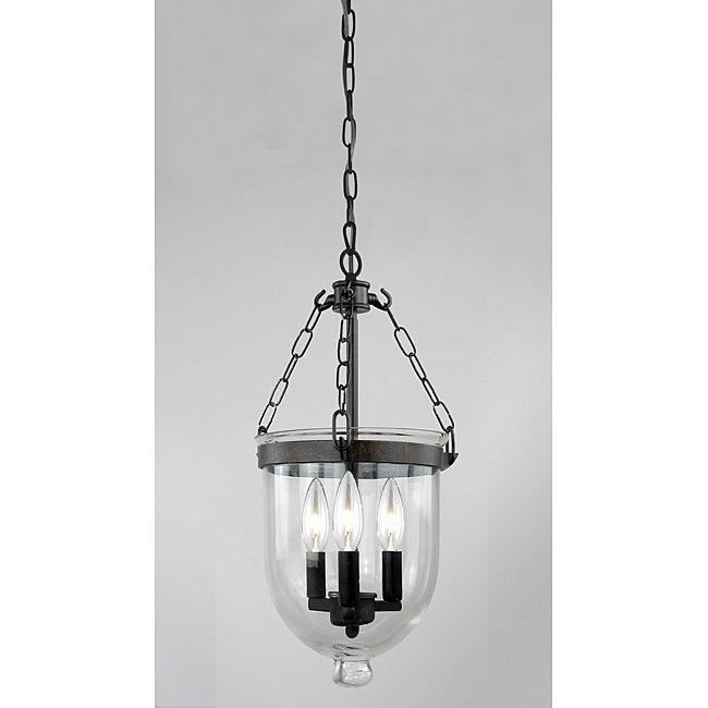 Antique Copper Finish Glass Lantern Chandelier