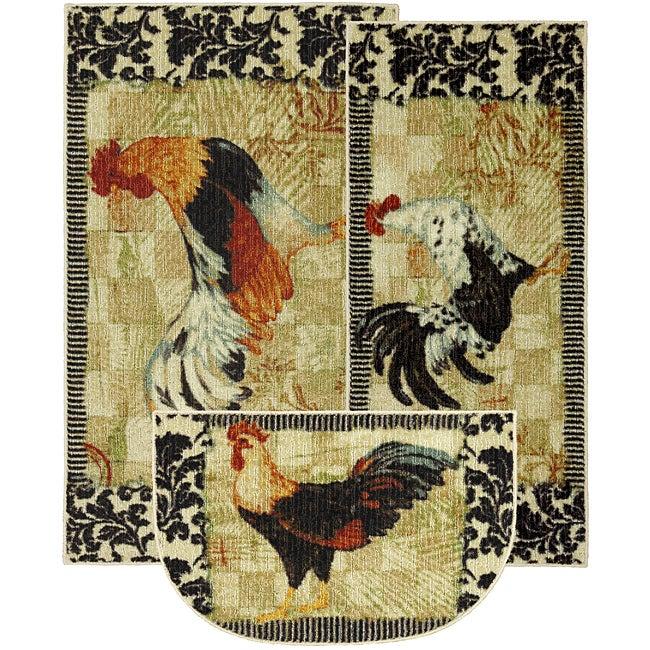 Bergerac Rooster Three-piece Kitchen Rug Set