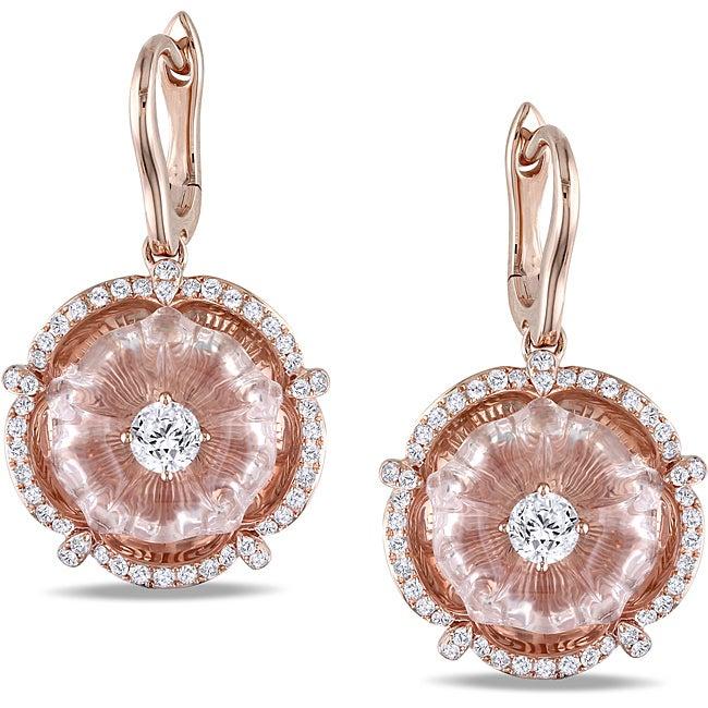 Miadora 14k Pink Gold Rose Quartz and 5/8ct TDW Diamond Earrings (G-H, SI2)