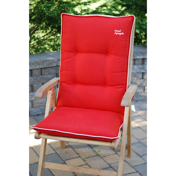 Red High Back/ Recliner Patio Chair Cushions (Set Of 2