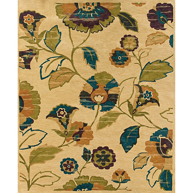 Evan Beige and Green Transitional Area Rug (5' x 8'3)