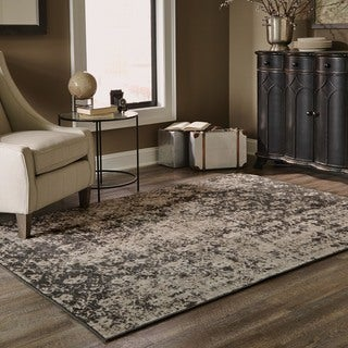 Grey/ Black Area Rug (3'10 x 5'5)