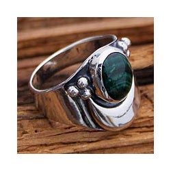 Sterling Silver 'Heart's Desire' Malachite Cocktail Ring (Mexico)
