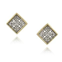 DB Designs 18k Gold over Silver 1/10ct TDW White Diamond Square Earrings