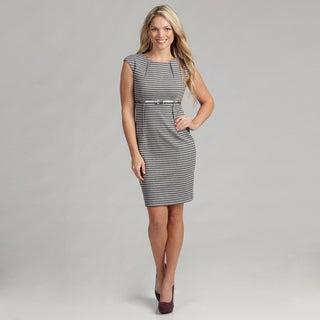 Calvin Klein Women's Striped Ponte Dress