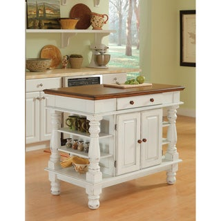Americana Antiqued White Kitchen Island