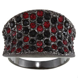 City by City City Style Black-plated Black and Red Crystal Pave Ring
