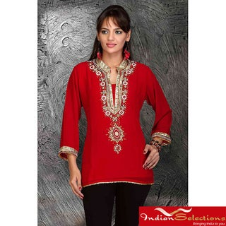 Handmade Red/Black Georgette Three-quarter-sleeve Kurti/Tunic (India)