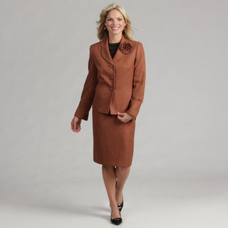 Le Suit Women's Rust Herringbone Skirt Suit