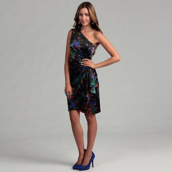 London Times Women's Floral One-shoulder Sheath Dress