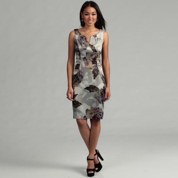 London Times Women's Grey/ Black Ruched Dress FINAL SALE