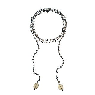 Sparkling Aura Black Onyx-Smokey Quartz Lariat Necklace (Thailand)