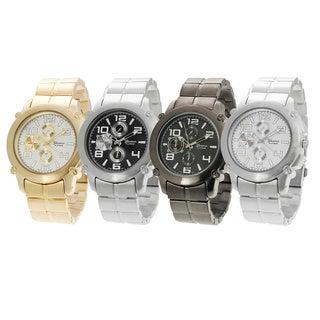 Geneva Platinum Men's Brushed Finish Quartz Link Watch