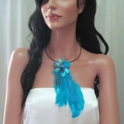 Floral Tassel Mix Stone Blue Feather Statement Choker (Thailand)