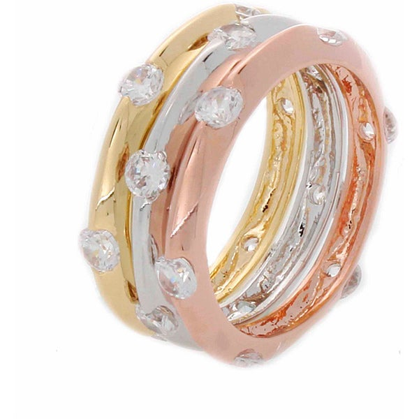 NEXTE Jewelry Tri-color Stackable 3-piece CZ Eternity Band Set