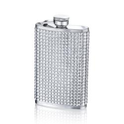 Small White Crystal-studded Stainless Steel Four-ounce Flask