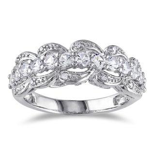 Miadora Silver 1 1/6ct TGW White Sapphire and Diamond Ring with 'Mom' Inscription