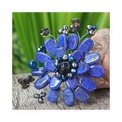 Multi-gemstone 'Phuket Flowers' Pearl Brooch (4 mm) (Thailand)