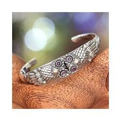 Sterling Silver 'Twin Owls' Amethyst Cuff Bracelet (Indonesia)