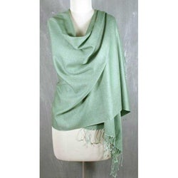 Wool and Silk Blend 'Extravagant Mint' Shawl (India)