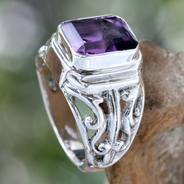 Sterling Silver Men's 'Wisdom Warrior' Amethyst Ring (Indonesia)