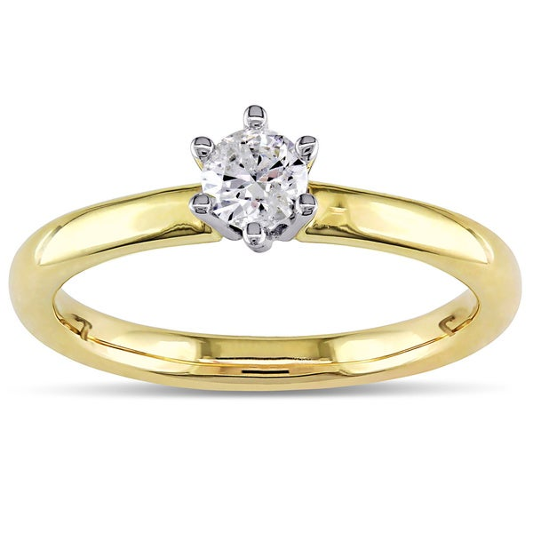 Miadora 14k Yellow Gold 1/4ct TDW 6-Prong Round Diamond Solitaire Ring (H-I, I1-I2)