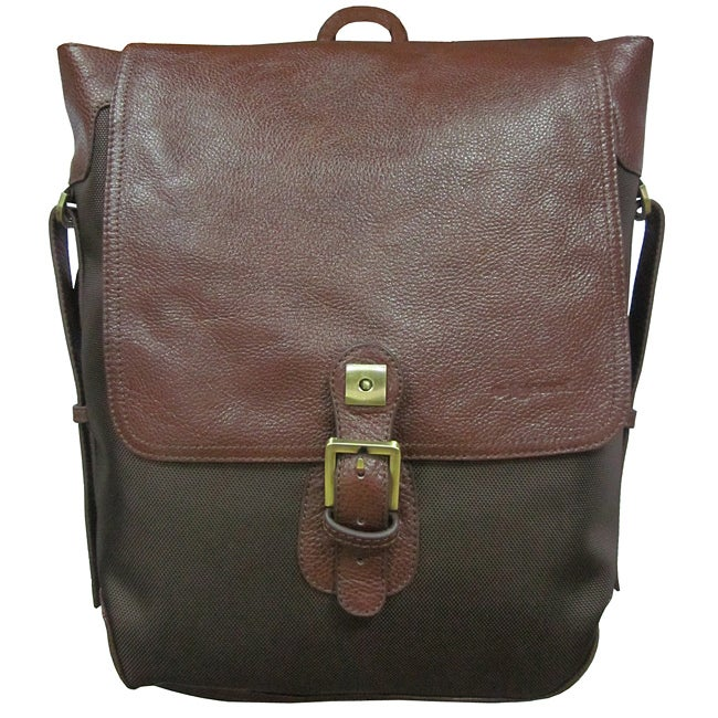 Amerileather Dark Brown Ballistic Nylon & Leather Two-tone Backpack