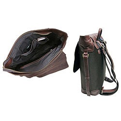Amerileather Dark Brown Ballistic Nylon & Leather Two-tone Backpack