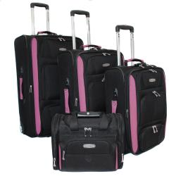 Bell + Howell Fuchsia Quick Access 4-piece Expandable Luggage Set