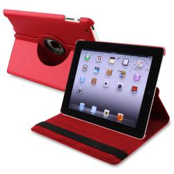 INSTEN Red 360-degree Swivel Leather Tablet Case Cover for Apple iPad 2/ 3/ 4