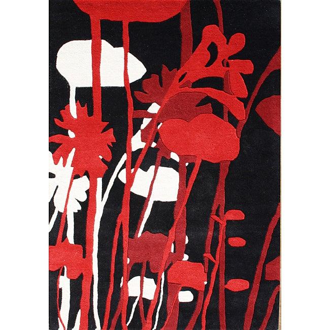 Hand-made Sabrina Black and Red New Zealand Wool Rug (8' x 10')