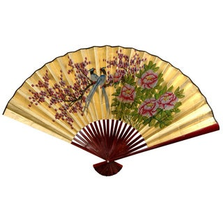 30-inch Wide Gold Leaf Love Birds Fan (China)