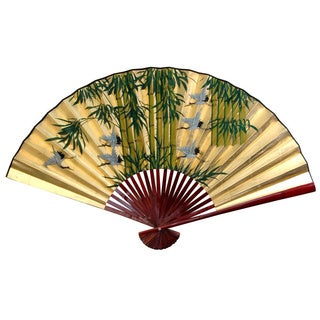 30-inch Wide Gold Leaf Bamboo and Cranes Fan (China)