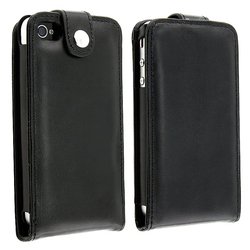 INSTEN Black Leather Phone Case Cover for Apple iPhone 4/ 4S