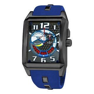 Stuhrling Original Men's 'Mad Man Complex' Blue Rubber Strap Watch