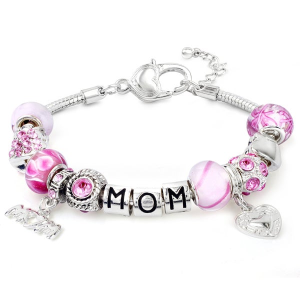 West Coast Jewelry Silverplated Pink Crystal and Bead 'Mom' Themed Bracelet