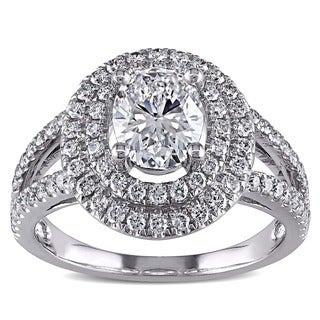 14k White Gold 1 3/4ct TDW Certified Diamond Oval Ring (D, SI2)
