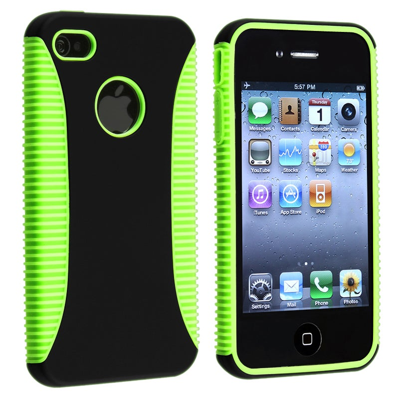 BasAcc Green TPU/ Black Plastic Hybrid Case for Apple iPhone 4/ 4S