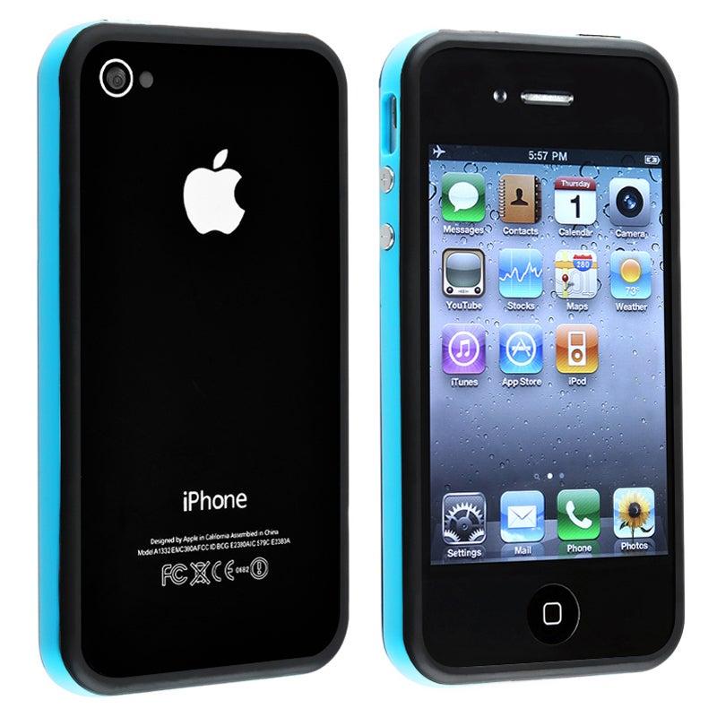BasAcc Blue TPU Bumper Case/ Aluminum Buttons for Apple iPhone 4/ 4S