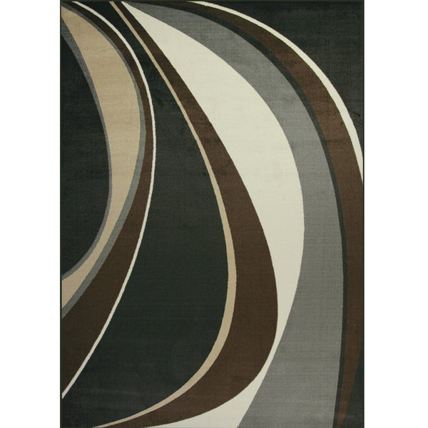Somette Allestra Movement Black Rug (7' x 10')