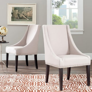 Safavieh Sloping Arm Beige Linen Nailhead Dining Chair (Set of 2)